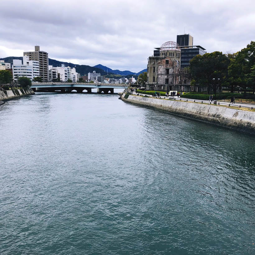 Looking over the Motoyasu river, with the Atomic Bomb Dome on the right.