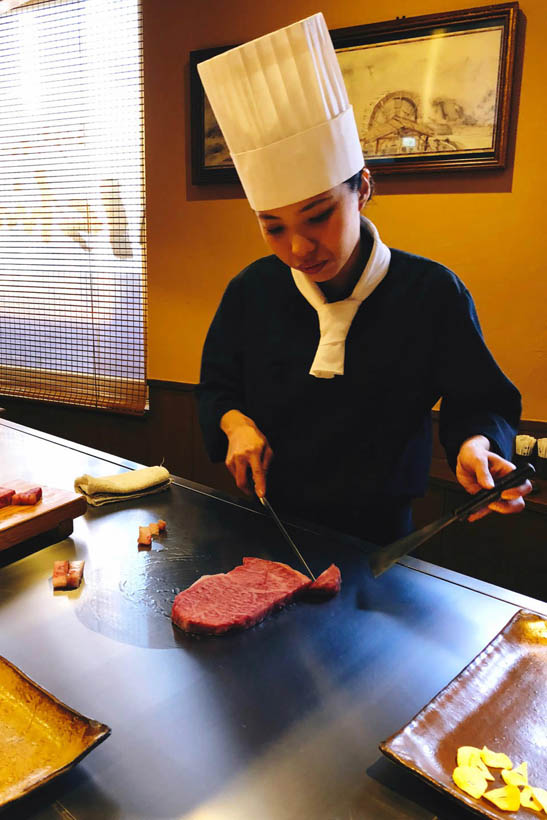 Our Kobe beef on the teppanyaki grill.