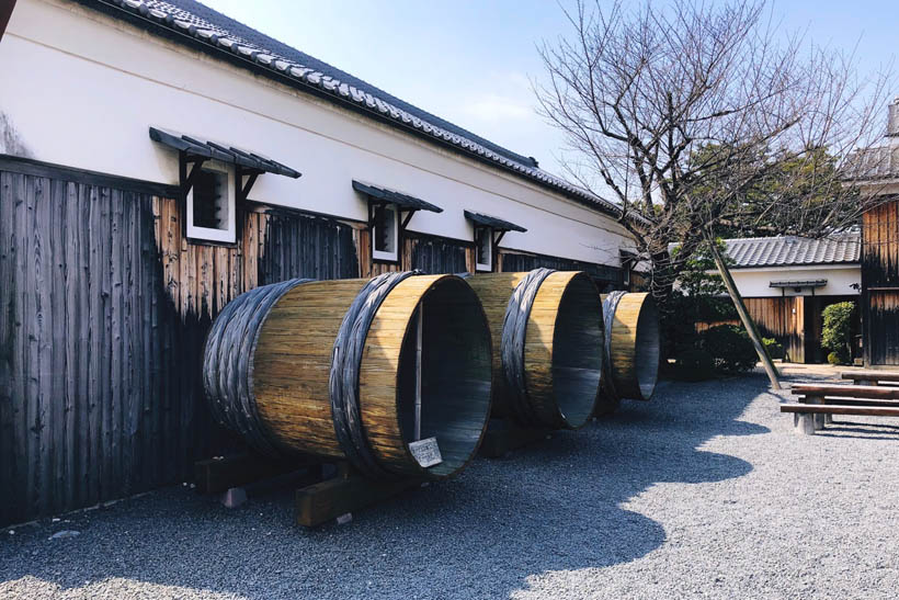 Empty sake barrels at the Gekkeikan Okura Sake Museum in Kyoto, Japan.