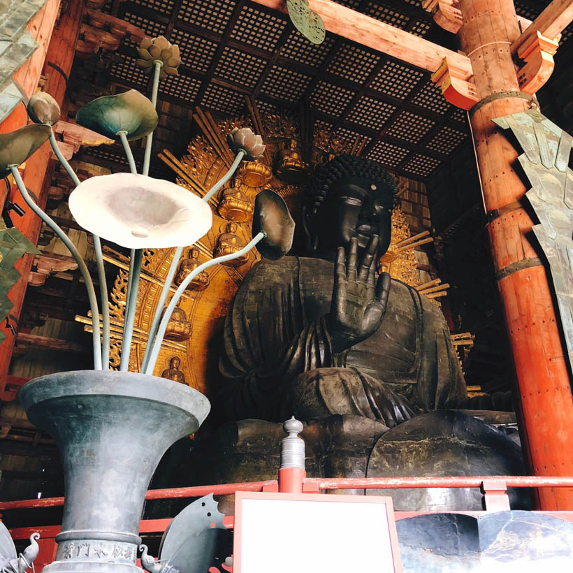 The huge Buddha statue inside.