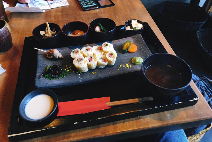 Yuba meal set at Zen, with Wagyu beef wrapped in Yuba (tofu skin), some kind of tofu pudding, a bowl of miso soup and more