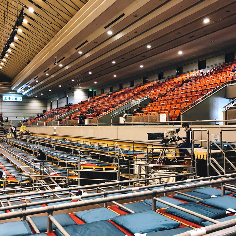 The inside of the arena in the morning. The lower sumo divisions don't attract nearly as much spectators as the highest ranks.