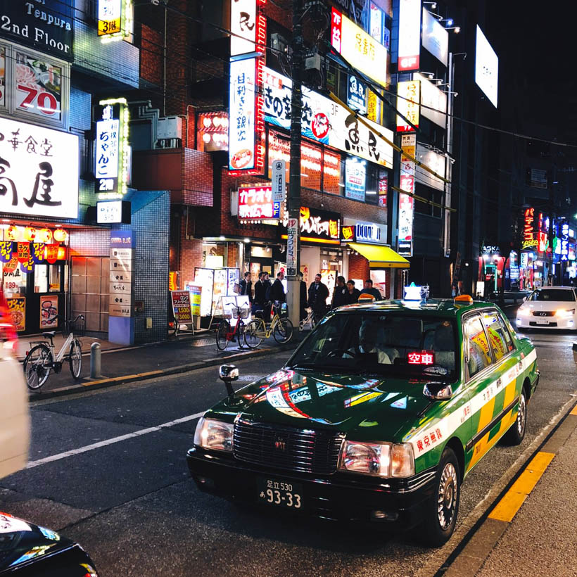 A taxi near Ryogoku Station.