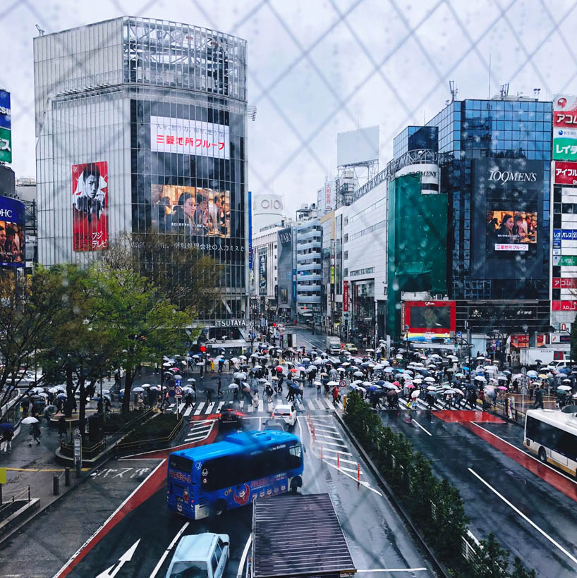 The famous Shibuya Scramble Crossing as seen from Shibuya Station.