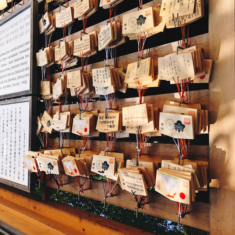 Wishes written on pieces of wood (called 'Ema') which are attached to designated walls at the shrine.