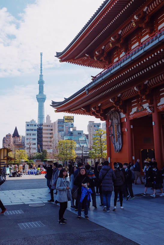 The Tokyo Skytree and a part of the Senso-ji temple.