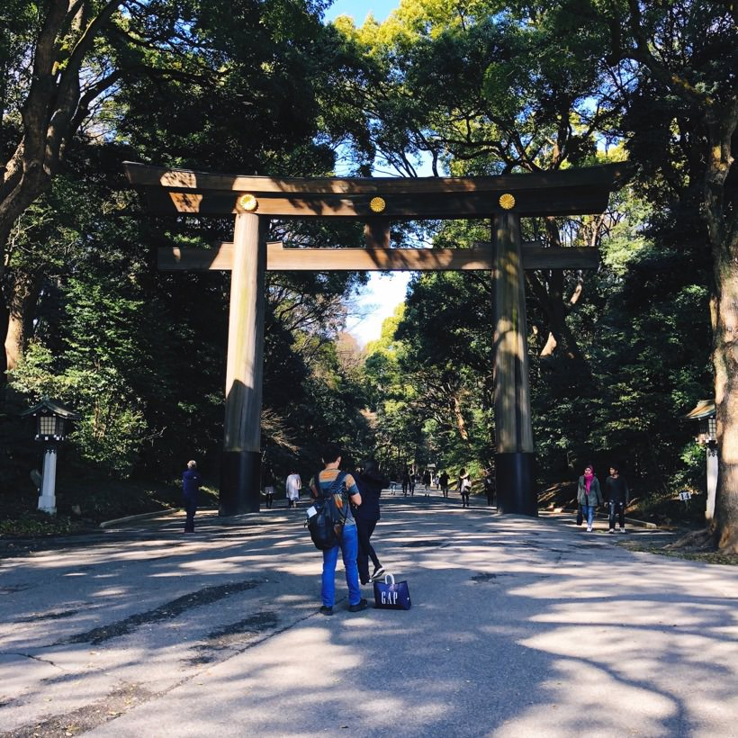 The large torii gate at the entrance of the park.
