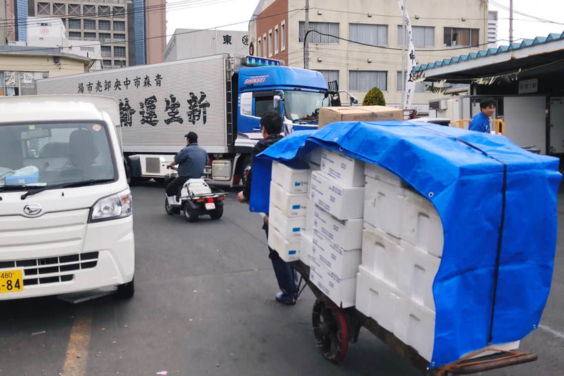 Workers at Tsukiji Fish Market.