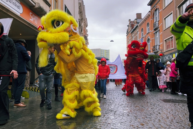 Chinese dragons roaming the streets of Leuven.