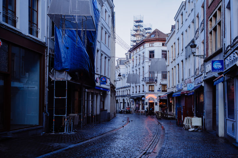 Rue du Marché aux Fromages in Brussels in the morning
