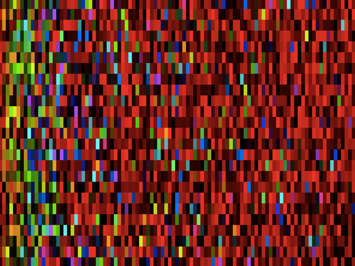 Generated field of colored blocks, gradually shifting in color, made with NodeBox.
