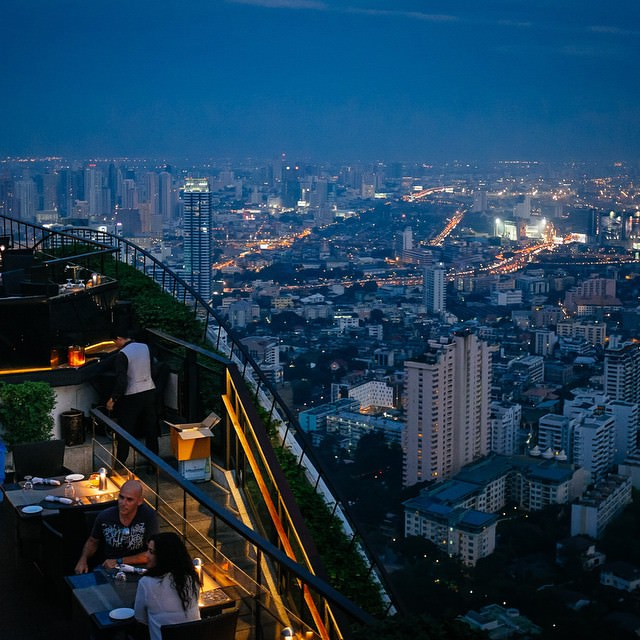 A view from the Moon Bar at the Banyan Tree Hotel in Bangkok. The view is stunning (you can look all around you with nothing in the way) and the price of the drinks is decent (you're, of course, mostly paying for the scenery). #Bangkok #rooftop #thailand #moonbar