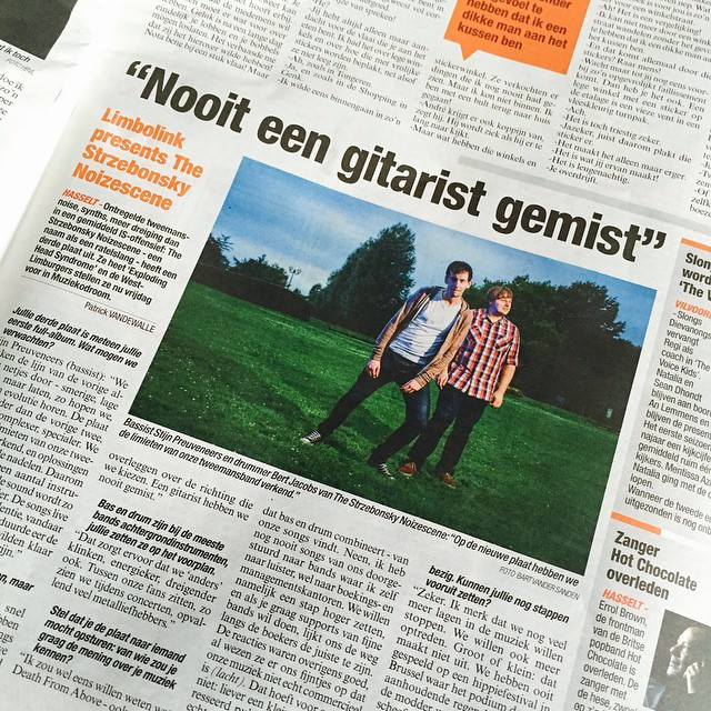 My friends (and my pic) of The Strzebonsky Noizescene in Het Belang Van Limburg! They'll introduce their new album at the Muziekodroom in Hasselt tomorrow evening (free entrance!). #music