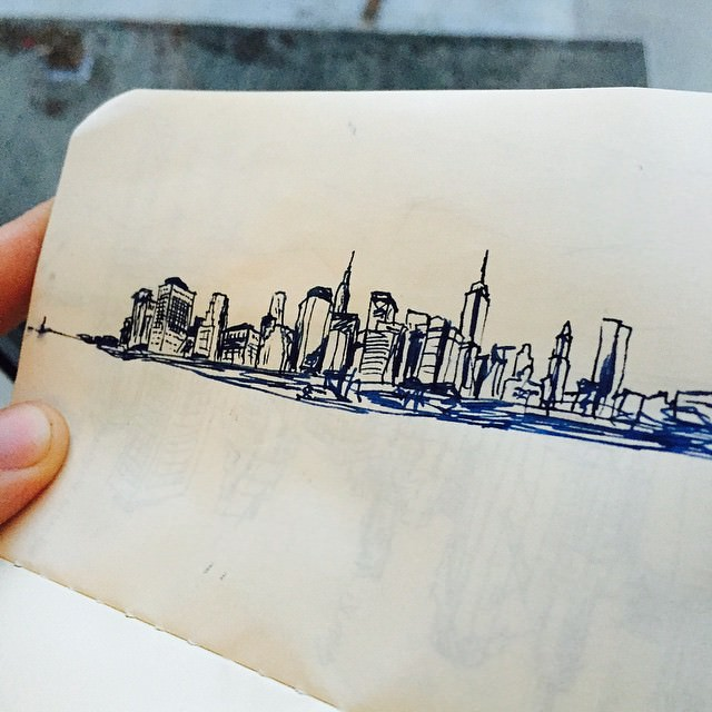 New York City (wanted to draw something). #nyc #newyork #fountainpen #drawing #skyline #ink