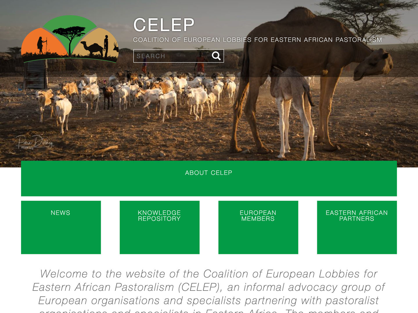 The homepage of CELEP on desktop-sized screens.