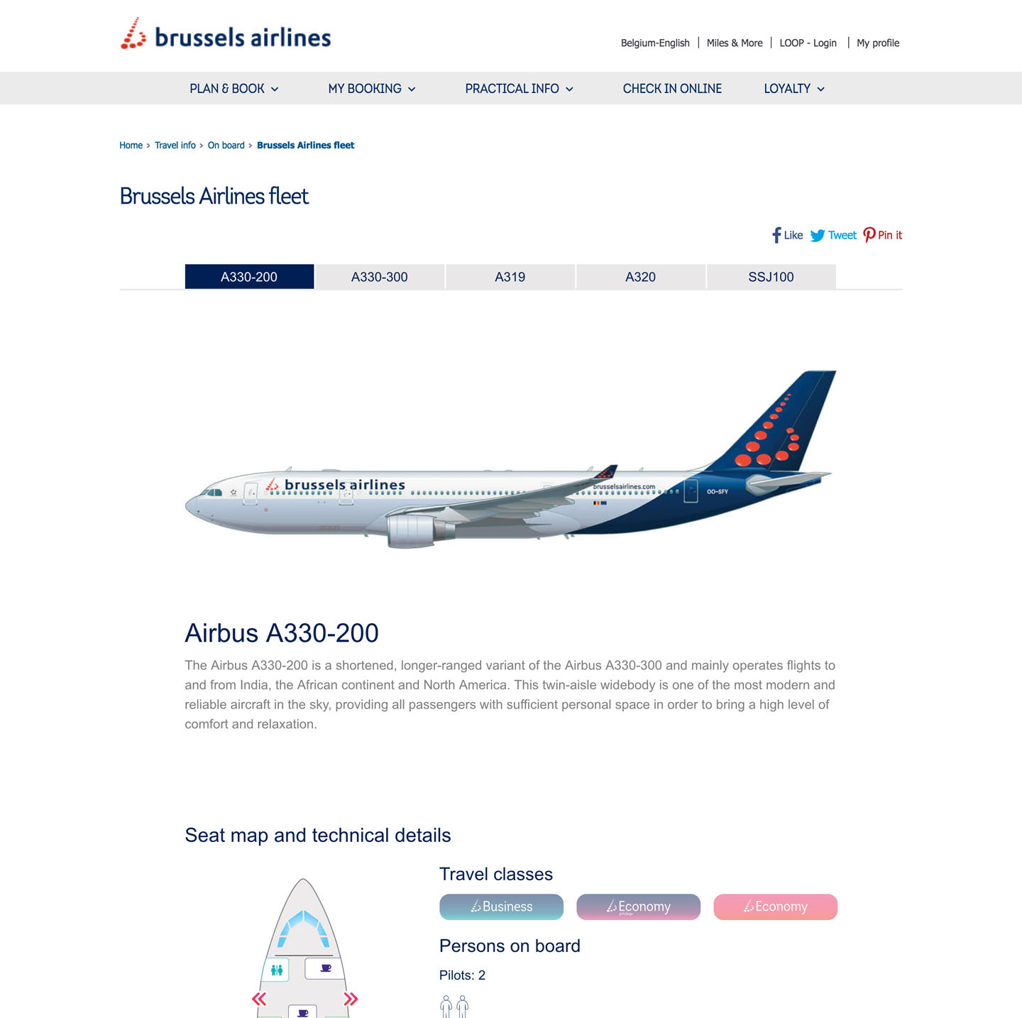 Brussels Airlines fleet pages (development of website)